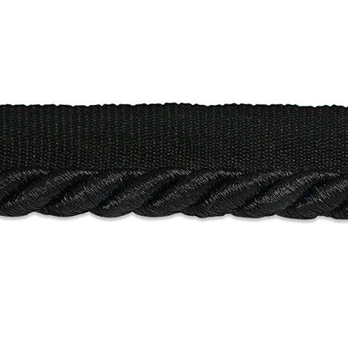 Twisted Trim Cord Lip 3/8 (Expo International 3/8-Inch Nicholas Twisted Lip Cord Trim Embellishment, 20-Yard, Metallic Black)
