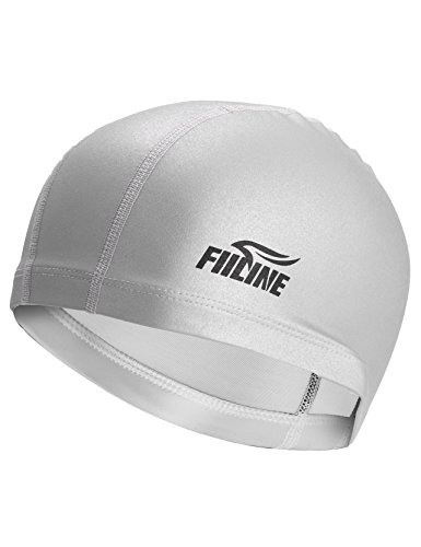 FIILINE Waterproof Swimming Cap,Silicone Swim Caps for Adults Youths Women Men,Long Hair Swim Caps,UV Protection Swimming Caps,Free Size Hat (Silver)