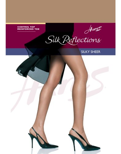 Hanes Womens Set of 3 Silk Reflections Control Top RT Pantyhose, C/D, Barely There