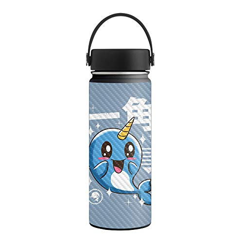 MightySkins Carbon Fiber Skin for 18 oz. Wide Mouth - Narwhal Kawaii | Protective, Durable Textured Carbon Fiber Finish | Easy to Apply, Remove, and Change Styles | Made in The USA (Smiling With The Mouth Of The Ocean)