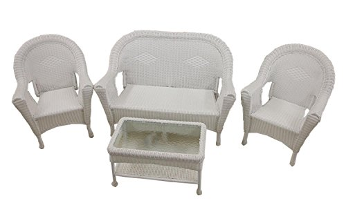 Lb International 4-Piece White Resin Wicker Patio Furnitu...