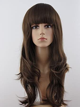 Amazon.com   LONG long layer sligh body wig wigs in 6 8  MEdium Brown  MEdium ASh Brown Mix Kanekalon Heat Resistant Synthetic Fiber Skin   Hair  Replacement ... 72b4076c300d