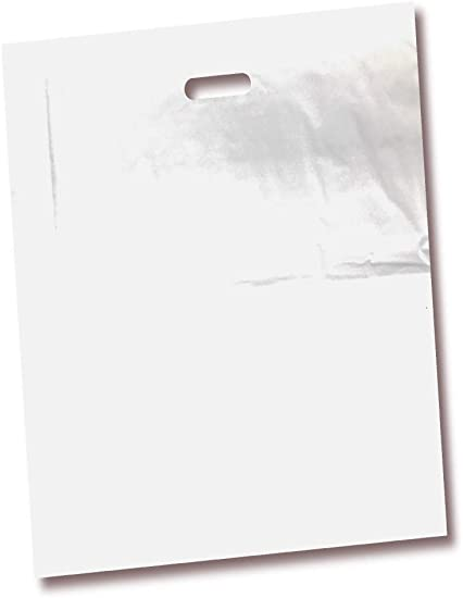 Die Cut Handles 100/% Recyclable Birthdays Party Favors Color White Children Parties Perfect for Shopping 100 Pack 18 x 18 with 2 mil Thick White Merchandise Plastic Glossy Retail Bags