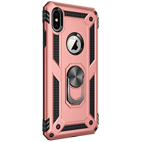 (iPhone X/XS|XS Max|XR case Protective Cover 360 Degree Ring with Holder Kickstand Hard Shell for Magnetic Car Mount (iPhone X/XS, Pink))