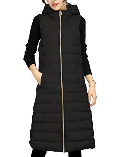 (Gihuo Women's Quilted Zip Up Long Puffer Vest Maxi Down Jacket (Black,)
