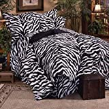 Black Zebra 6 Pc EXTRA LONG TWIN Comforter Set, One Matching Shower Curtain, and Set of (Two) Matching Window Valance/Drape Sets; Entire Set Includes: (1 Comforter, 1 Flat Sheet, 1 Fitted Sheet, 1 Pillow Case, 1 Sham, 1 Bedskirt, 2 Valance/Drape Sets) SAV
