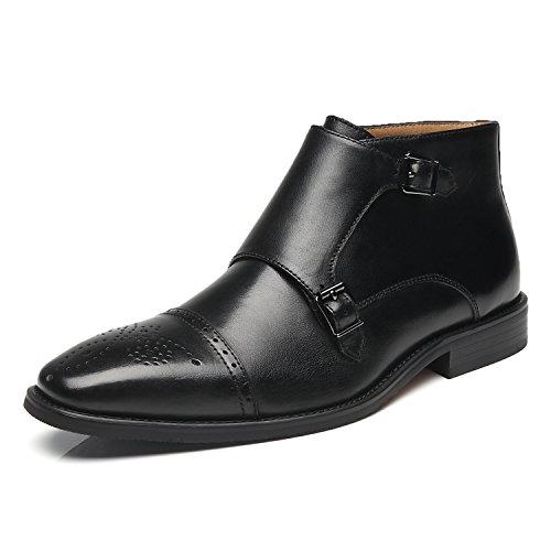 La Milano Men's Dress Shoes Double Monk Strap Cap Toe Leather Dress Boot For Men Chukka Ankle Boots (Outlet Boots Snowboard)