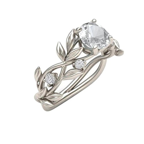 1 Pack Women Wedding Ring Set Girl Female Diamond Simple Silver Band Engagement Bride Gift (Size 11, Silver & White) (Size 8, Silver & White) (Invisible Set Bridal Diamond)