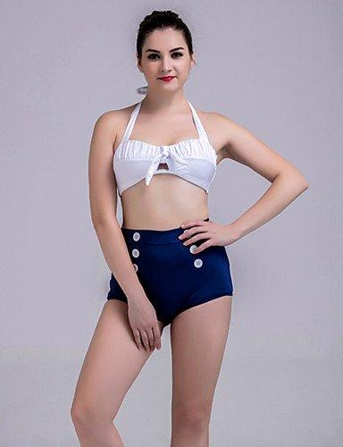 De las mujeres Tankini-Cintura Alta Monocolor Con LazoHalter-Nailon White