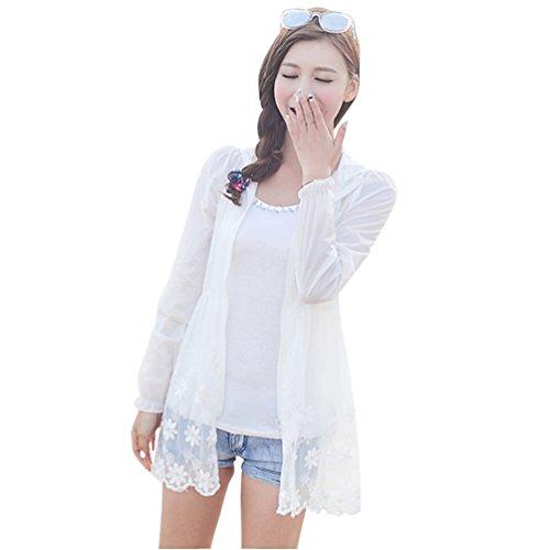 xiaopingshop Long Hooded Women Lace Long Sleeve Thin Sun Protective Clothing