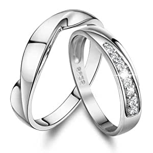 Amazon.com: Personalized Name His and Her Promise Rings ...