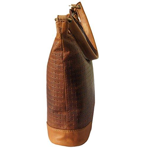 Borsa shopper - a tracolla GAZANIE marrone in BIO cuoio intrecciato con il prodotto per la cura del cuoio incluso - MANDY von MALTZAHN