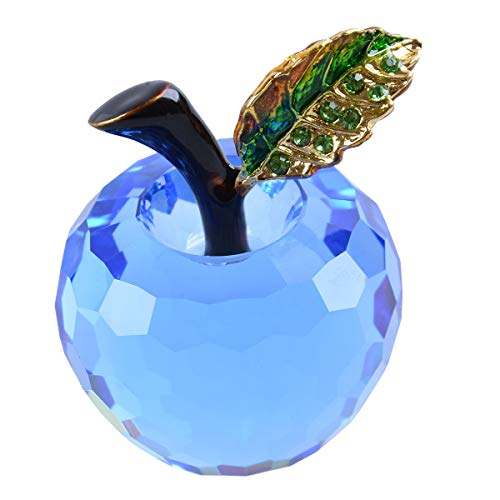 LONGWIN 40mm (1.6 inch) Crystal Apple Figurine Paperweight Christmas Decoration Ornaments Blue