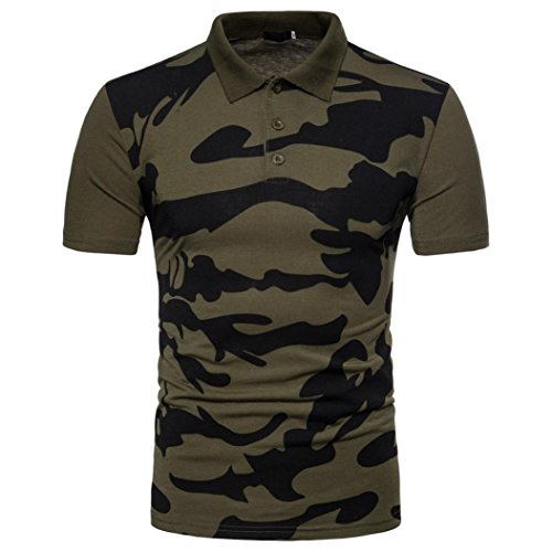 Men's 2018 New Style Casual Polo Camouflage Print Turn-Down Collar Shirt Top Blouse (L, Green)