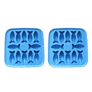 Riverbyland Fish Shape Silicone Ice Cube Trays Assorted Colors Set of 2