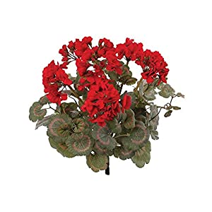 Larksilk Red Artificial Geranium Flower Bush | Decorative Silk Artificial Plant Perfect for Outdoors or Indoor Décor, 18-Inch Tall, 12-Pack 11