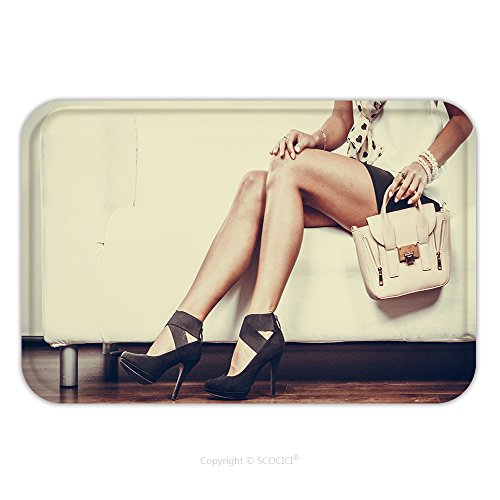 Flannel Microfiber Non-slip Rubber Backing Soft Absorbent Doormat Mat Rug Carpet Elegant Outfit. Female Fashion. Girl In Fashionable Clothes Sitting On Sofa Holding Bag Handbag_46607318 for (Childrens Shepherds Outfit)