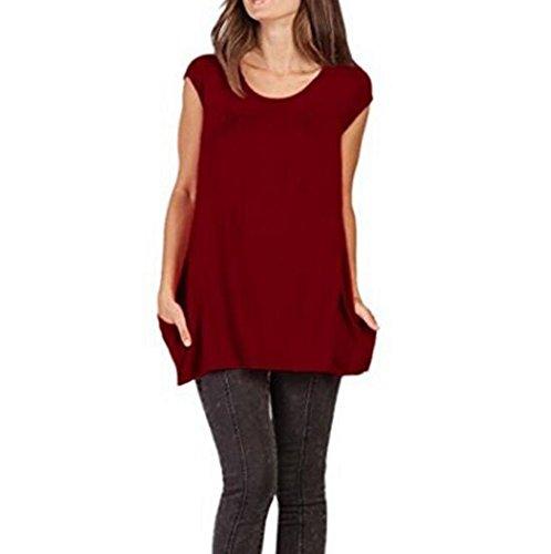 Seno Tasche al Senza Femminile Infermieristica Gravidanza Rosso Vino Shirt Moms Top Maniche Allattamento T qnFxgnW