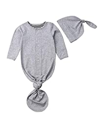 Aunavey Newborn Knotted Sleep Gown Organic Baby Boy Girl Knotted Sleeping Bag with Headband/Hat