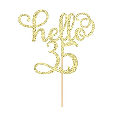 Hello 35 Cake Topper- 35th Birthday/Wedding Anniversary Party Sign Decorations