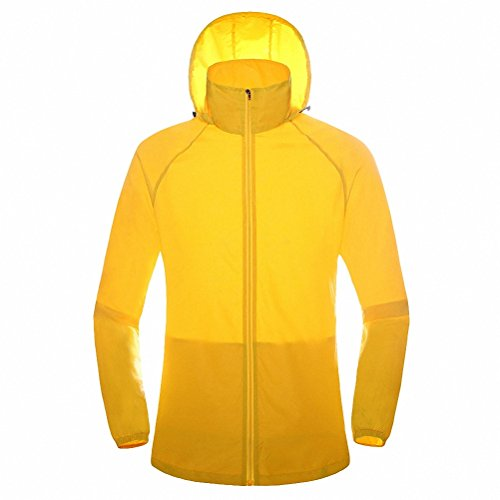 Maoko Sports Outdoor Running Windbreaker Jacket with Hood- Lightweight Sun UV Protection Yellow (Camping Stove Windbreaker compare prices)