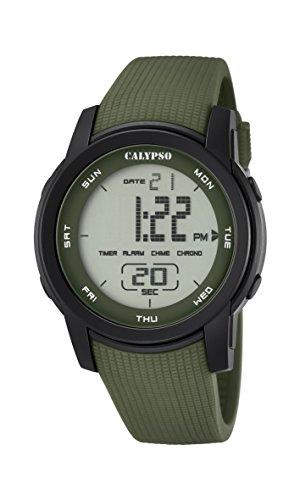 CALYPSO Reloj Modelo K5698/4 de la colección Color Splash, Caja de 45,5 mm Negro con Correa de plástico Verde Oscuro para Caballero