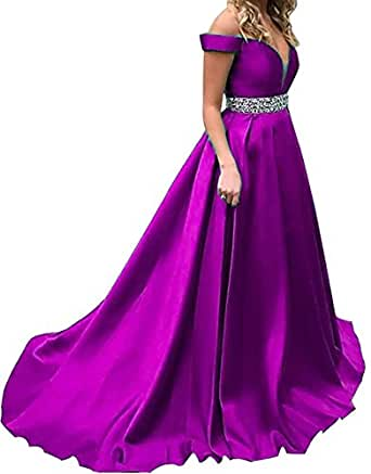 BessDress Beaded Illusion V Neck Prom Dresses 2018 Off The Shoulder Evening Party Gown BD432