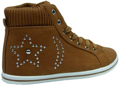 Damen Freizeitschuhe Schnürer Sneaker mit Nieten schwarz camel blau Camel