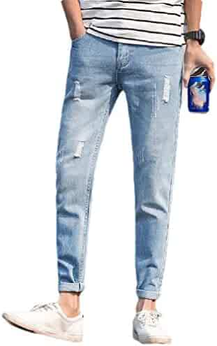 Abetteric Mens Bodysuit Vintage Wash Holes Simple Trousers Jeans Denim Pants