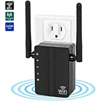 WiFi Range Extender,300Mbps 2.4G WiFi Repeater Wireless Signal Booster with 360 Degree Full WiFi Covering with High Gain Dual External Antennas High Gain Conventivity