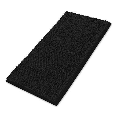 MAYSHINE Non-Slip Bathroom Rug Shag Shower Mat (24x39 inch) Machine-Washable Bath mats Water Absorbent Soft Microfibers- Black (Bathroom Mat Black)