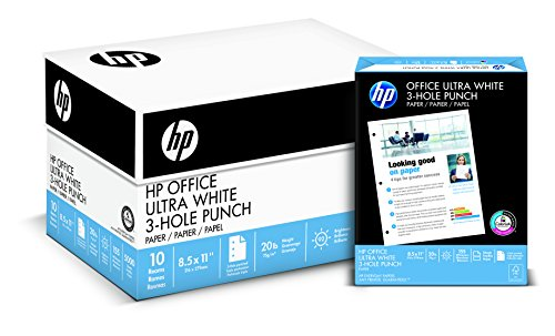 HP Paper, Office Ultra Whiite Paper, 20lb,8.5 x 11, 3 Hole Punch, 92 Bright, 5000 Sheets / 10 Ream Case, Made In The USA