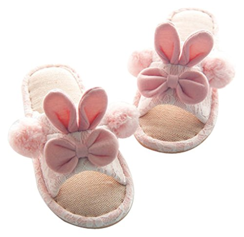 Cattior Linen Womens Slippers Indoor Slippers Pink