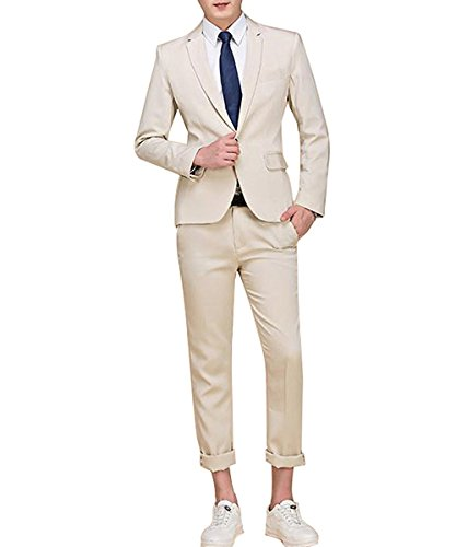 Men's Suit Single-Breasted One Button Center Vent 2 Pieces Slim Fit Formal Suits by Cloudstyle