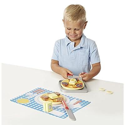 Melissa & Doug Flip and Serve Pancake Set (19 pcs) - Wooden Breakfast Play Food: Melissa & Doug: Toys & Games