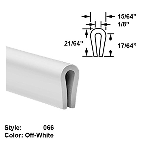 Food-Grade Nylon Plastic U-Channel Push-On Trim, Style 066 - Ht. 21/64'' x Wd. 15/64'' - Off-White - 25 ft long by Gordon Glass Co.