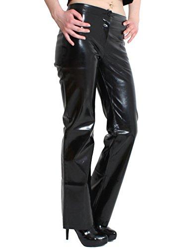 Dung eonz 4628Classic Mujer barniz Pantalón corte recto Negro o Rojo, tallas 34–�?6 negro