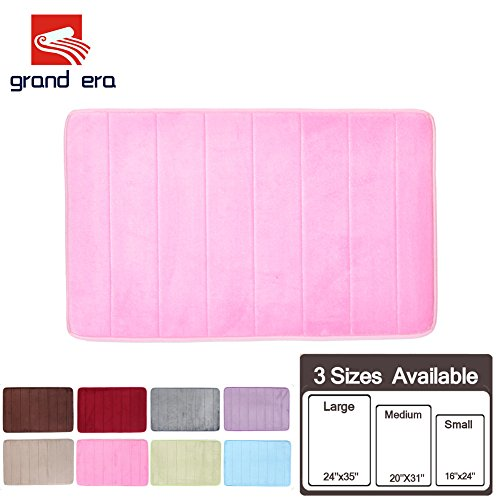GRAND ERA Incredibly Soft and Absorbent Memory Foam Bath Mat, Non-slip Bathroom Rugs, 16