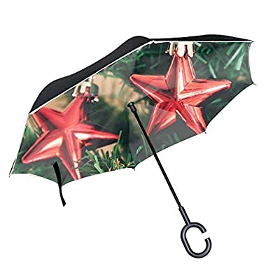 Christmas New Year Large Inverted Double Layer Reverse Folding Umbrella - Windproof, UV Protection, Self-Standing