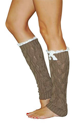 Lucky Love Knitted Leg Warmer with Lace (Mocha)