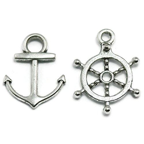 50 Anchor, Rudder Charms silvertone boating wheel
