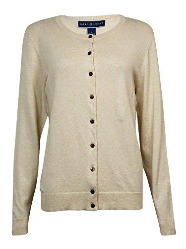 (Karen Scott Women's Crewneck Ribbed Buttoned Cardigan (XL, Oatmeal Heather))
