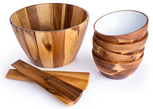 Casa Bellante CB-1806 Acacia Wood 7-Piece Set Includes Salad Bowl/4 Serving Dish/Utensils, Natural, Kit