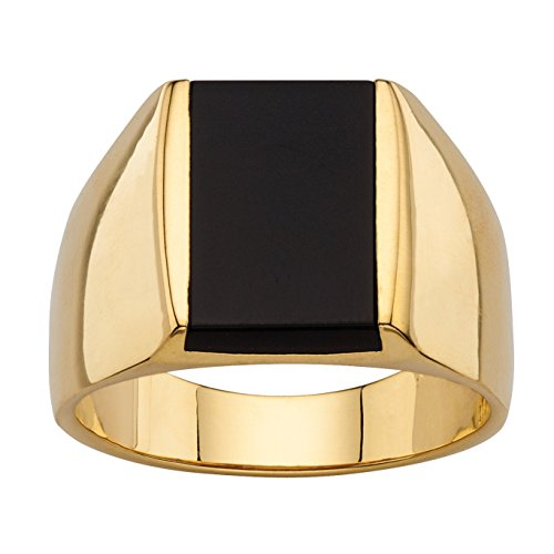 - Palm Beach Jewelry Men's Emerald-Cut Genuine Black Onyx 14k Gold-Plated Classic Wide Band Ring Size 10