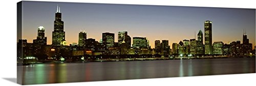 Canvas On Demand Premium Thick-Wrap Canvas Wall Art Print entitled Skyline at dusk Chicago IL - Chicago Tower Il Water