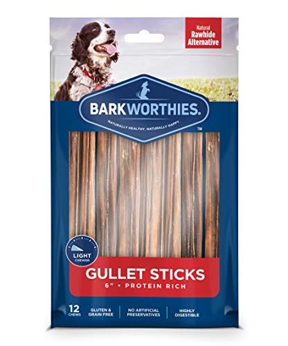 Barkworthies 6-inch Beef Gullet Sticks (12 pk) - Healthy Dog Treats - Protein-Packed, Highly Digestible - Promotes Dental Health - Quick Hollow Dog Chew - Great for Older Dogs and Teething Puppies