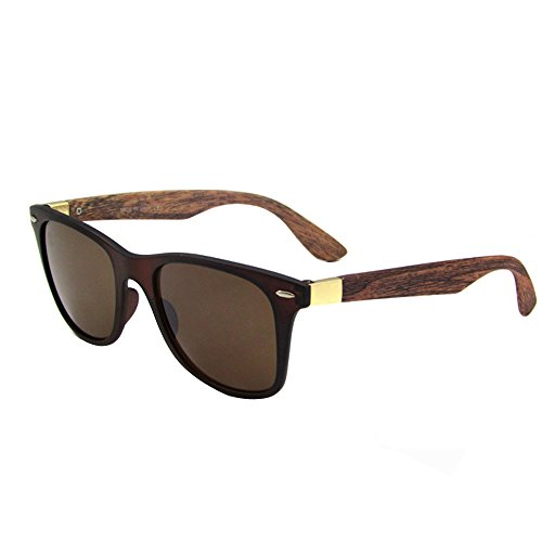 JULI Mens Womens Fashion Wayfarer Wood Bamboo Printed Black Frame Mirror Lens Wrap 52MM Sunglasses 4195WN