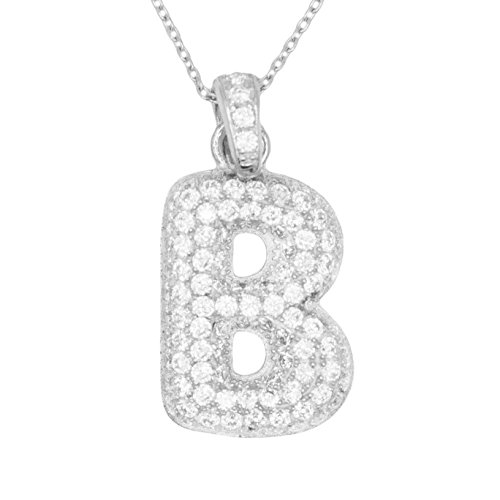 Pave Personalized Necklace - 925 Sterling Silver Micro Pave CZ Letter B Initial Personalized Pendant Necklace