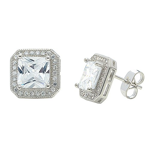 Amazon Black Friday Deals 2018 - Cate & Chloe Londyn 18k White Gold Plated Princess Cut CZ Halo Stud Earrings, Sparkling Silver Stud Earring Set w/Solitaire Princess Gemstone, Christmas Jewelry