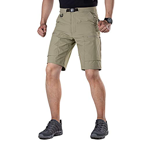 (FREE SOLDIER Men's Cargo Shorts Breathable Lightweight Quick Dry Hiking Tactical Shorts Nylon Spandex (Mud W36))
